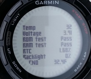 Fenix 2 service menu screen showing Temp, Voltage, ROM test, RAM test, RTC, Backlight and CNO